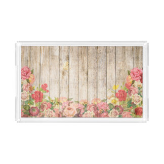 Vintage Rustic Romantic Roses Wood Acrylic Tray