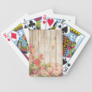 Vintage Rustic Romantic Roses Wood Bicycle Playing Cards