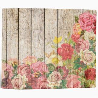 Vintage Rustic Romantic Roses Wood Binder