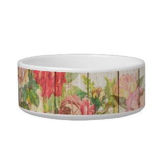 Vintage Rustic Romantic Roses Wood Bowl