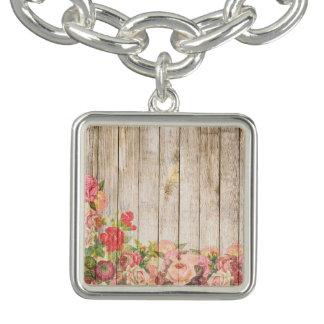 Vintage Rustic Romantic Roses Wood Bracelet