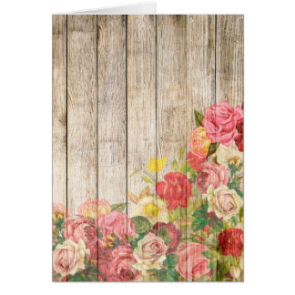 Vintage Rustic Romantic Roses Wood Card