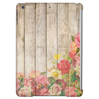 Vintage Rustic Romantic Roses Wood Case For iPad Air