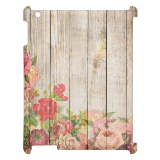 Vintage Rustic Romantic Roses Wood Case For The iPad