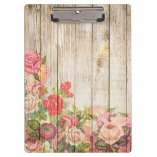 Vintage Rustic Romantic Roses Wood Clipboard
