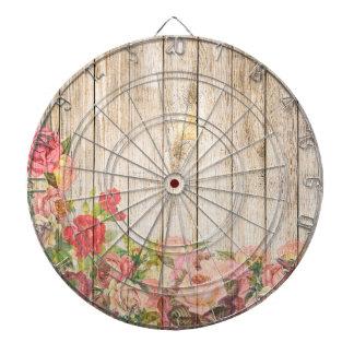Vintage Rustic Romantic Roses Wood Dartboard