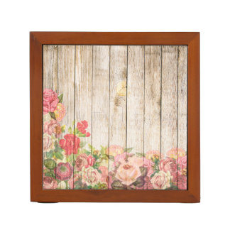 Vintage Rustic Romantic Roses Wood Desk Organizer