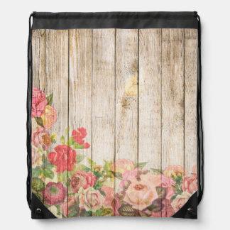 Vintage Rustic Romantic Roses Wood Drawstring Bag