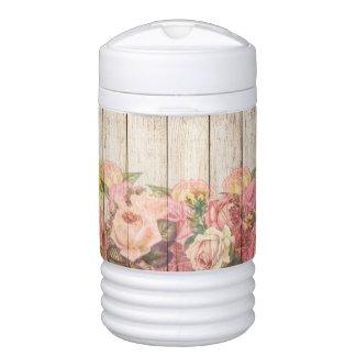 Vintage Rustic Romantic Roses Wood Drinks Cooler