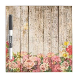 Vintage Rustic Romantic Roses Wood Dry Erase Board