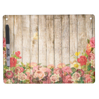Vintage Rustic Romantic Roses Wood Dry Erase Board With Keychain Holder