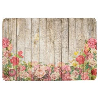Vintage Rustic Romantic Roses Wood Floor Mat