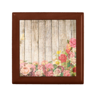 Vintage Rustic Romantic Roses Wood Gift Box