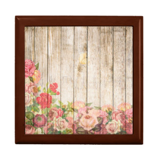Vintage Rustic Romantic Roses Wood Gift Boxes