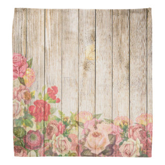 Vintage Rustic Romantic Roses Wood Head Kerchief