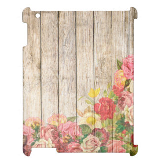 Vintage Rustic Romantic Roses Wood iPad Cover