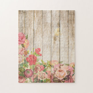 Vintage Rustic Romantic Roses Wood Jigsaw Puzzle