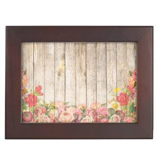 Vintage Rustic Romantic Roses Wood Keepsake Box