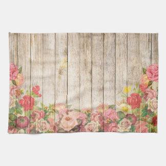 Vintage Rustic Romantic Roses Wood Kitchen Towel