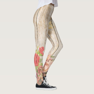 Vintage Rustic Romantic Roses Wood Leggings