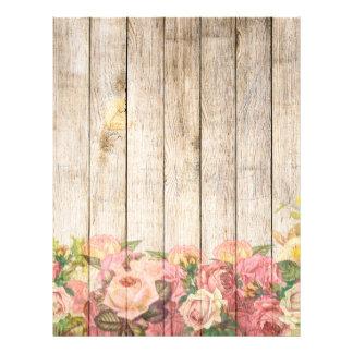 Vintage Rustic Romantic Roses Wood Letterhead