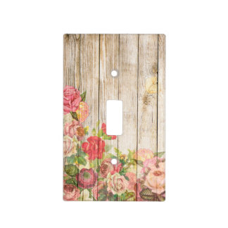 Vintage Rustic Romantic Roses Wood Light Switch Cover