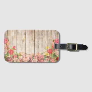 Vintage Rustic Romantic Roses Wood Luggage Tag