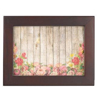 Vintage Rustic Romantic Roses Wood Memory Boxes