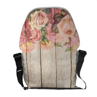 Vintage Rustic Romantic Roses Wood Messenger Bag