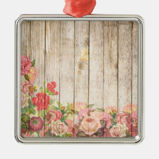 Vintage Rustic Romantic Roses Wood Metal Ornament