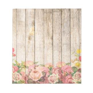 Vintage Rustic Romantic Roses Wood Notepad