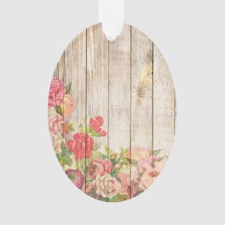 Vintage Rustic Romantic Roses Wood Ornament