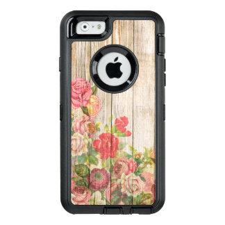 Vintage Rustic Romantic Roses Wood OtterBox Defender iPhone Case
