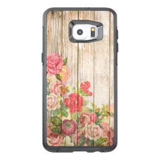 Vintage Rustic Romantic Roses Wood OtterBox Samsung Galaxy S6 Edge Plus Case