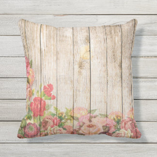 Vintage Rustic Romantic Roses Wood Outdoor Pillow