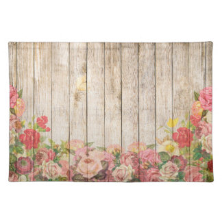 Vintage Rustic Romantic Roses Wood Placemat
