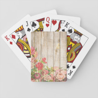 Vintage Rustic Romantic Roses Wood Playing Cards