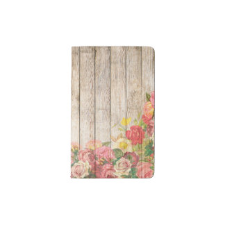 Vintage Rustic Romantic Roses Wood Pocket Moleskine Notebook