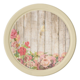 Vintage Rustic Romantic Roses Wood Poker Chips Set