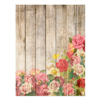Vintage Rustic Romantic Roses Wood Postcard