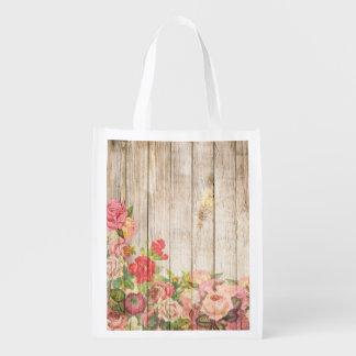 Vintage Rustic Romantic Roses Wood Reusable Grocery Bag
