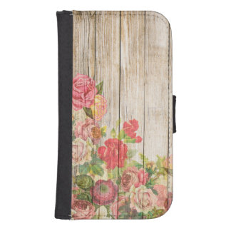 Vintage Rustic Romantic Roses Wood Samsung S4 Wallet Case