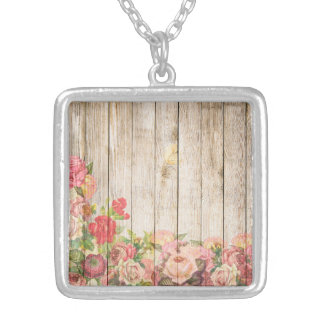 Vintage Rustic Romantic Roses Wood Silver Plated Necklace