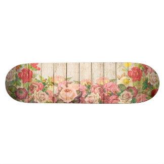 Vintage Rustic Romantic Roses Wood Skateboard