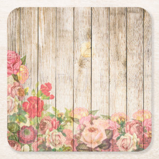 Vintage Rustic Romantic Roses Wood Square Paper Coaster