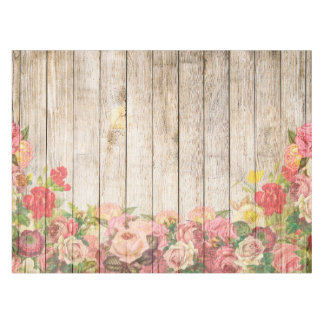 Vintage Rustic Romantic Roses Wood Tablecloth