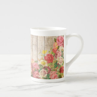 Vintage Rustic Romantic Roses Wood Tea Cup