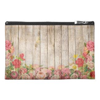 Vintage Rustic Romantic Roses Wood Travel Accessory Bag