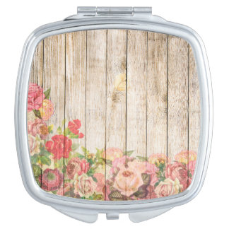 Vintage Rustic Romantic Roses Wood Travel Mirror
