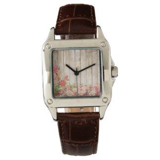Vintage Rustic Romantic Roses Wood Watch